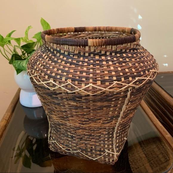 Vintage Large Wicker Boho Vase